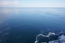 The sea between the Japan and Russia sea during the winter. This is the surrounding area behind the Abashiri ice breaker