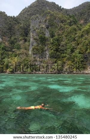 The Sea for snorkeling at Phi Phi Island of Thailand