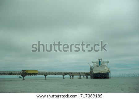 The sea ship. Ship. The ship receives the cargo. Transportation of gas. #717389185
