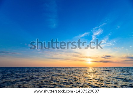 The sea which glistens with the beautiful morning sun