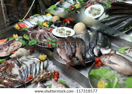 The seafood in fish market, Rhodes, Greece
