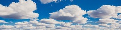 The seamless cloudy summer blue sky. 360 degrees hdr panorama view with beautiful clouds for using in 3d graphics or game as sky dome or editing drone shot.