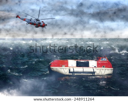 The search for the lost lifeboat - sea rescue mission.