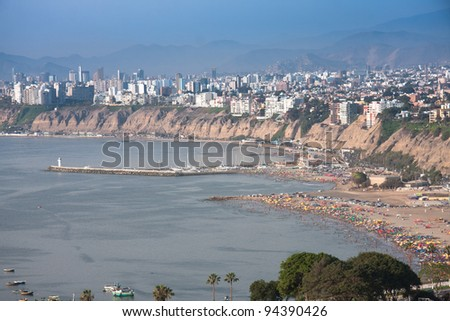 The seaside road in Chorrillos,  with a view on the coastline of Southern Lima in Summer