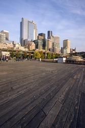 The Seattle Skyline Pier Boardwalk Puget Sound Washington Waterfront