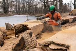 the second life of oak when sawing boards using a mobile chainsaw mill