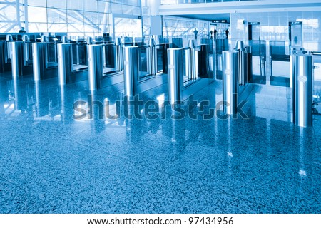 The security checkpoint at the airport