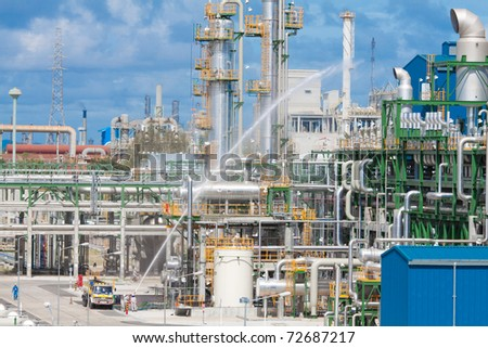 The security section testing there anti fire and safety systems in the petrochemical plant