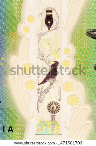 The security window from the Australian 10 dollar note featuring elements of Banjo Paterson's poem, The Man from Snowy River #1471501703