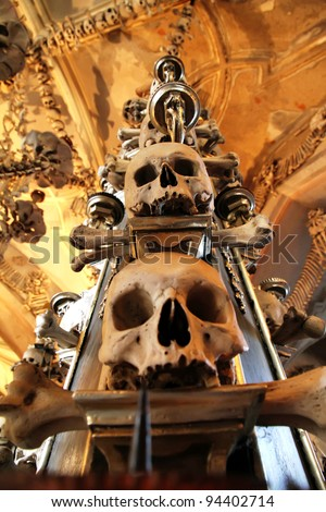 The Sedlec Ossuary is a small Roman Catholic chapel, located beneath the Cemetery Church of All Saints in Sedlec, a suburb of Kutna Hora in the Czech Republic.