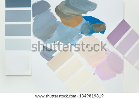The selection of colors in the palette. Mixing and neutralizing colors. Interior colors, interior colors #1349819819