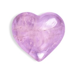 The semi-precious stone Rose Quartz, polished, on a white background.