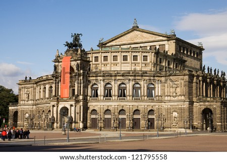 The Semperoper in Dresden, Germany. It is the opera house of the Saxon State Opera and the concert hall of the Saxon State Orchestra. The opera house was built by the architect Semper in 1841