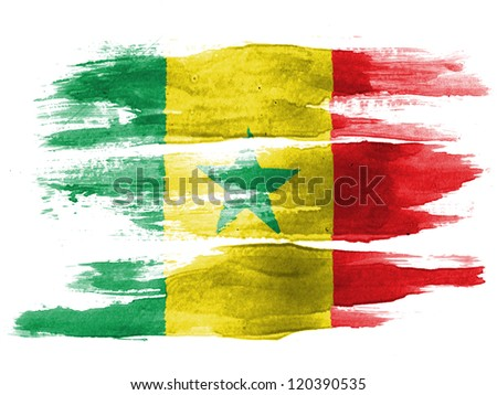 The Senegal flag painted on white paper with watercolor