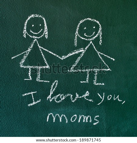 the sentence I love you, moms handwritten with chalk in a chalkboard, with a drawing of a lesbian couple - stock photo