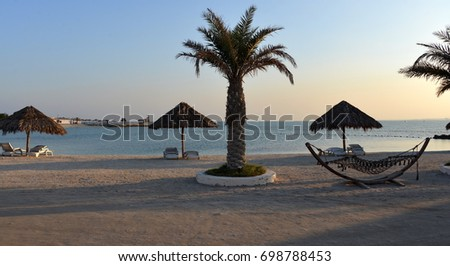 The serene and beautiful beach at Bahrain's Al Dar Islands. #698788453