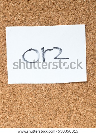 The series of a message on a piece of paper on the cork board, orz Zdjęcia stock ©