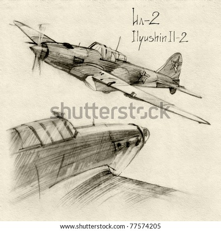 Stock Photo The series of soviet military enginery. The Ilyushin Il-2 a ground-attack aircraft (Shturmovik) in the Second World War