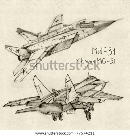 The series of soviet military enginery. The Mikoyan MiG-31 a supersonic interceptor aircraft developed to replace the MiG-25 Foxbat.