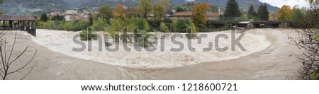 The Serio river swollen after heavy rains. Province of Bergamo, northern Italy