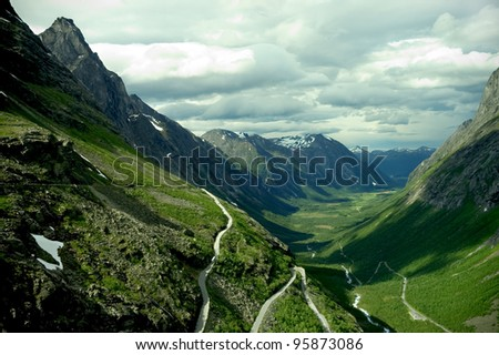 "the serpentine mountain road ""Trollstigen"" in Norway"
