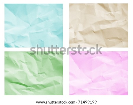 The set of crumpled colorful paper