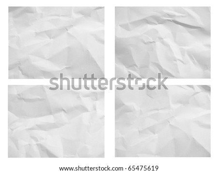 The set of crumpled white paper - stock photo