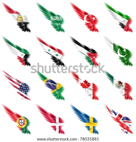 The Set of flags on wings and white background