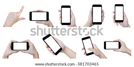 The set of hands with smartphones on isolated white background. #381703465