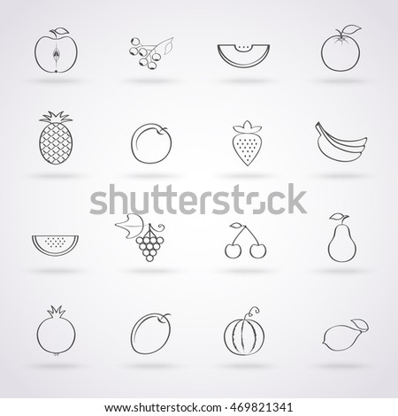 The set of icon of tropical fruits