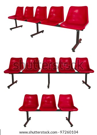 the set of red plastic chairs at the bus stop isolated on white