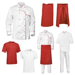 The set of white and red chef cook's clothes, isolated over white background