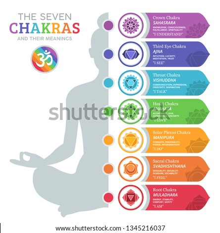 The Seven Chakras and their meanings Foto stock ©