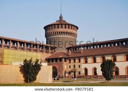 the Sforzesco castle in Milan