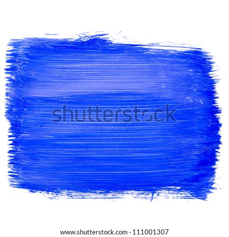 The shaded portion of the paper, a large smear blue acrylic paint isolated on white background