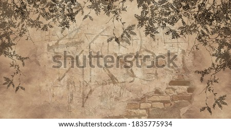 The shadow of branches, trees and leaves on a brown concrete, brick wall. Beautiful design for card, postcard, picture, mural, wallpaper, photo wallpaper. Foto d'archivio ©