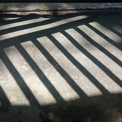 The shadow of the fence house on the floor in the morning
