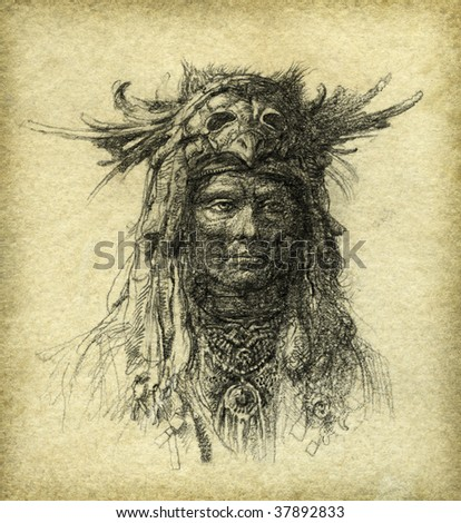The shaman, drawn with pencil on paper