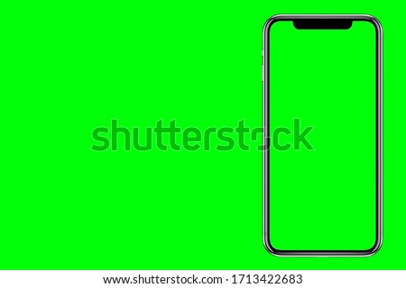 Photo of  The shape of a modern mobile smartphone Designed to have a thin edge. green screen background - Clipping Path.
