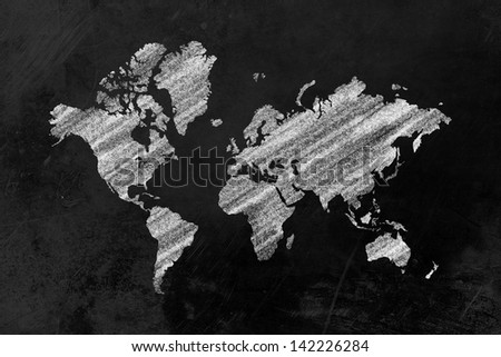 the shape of the world map drawn on a blackboard
