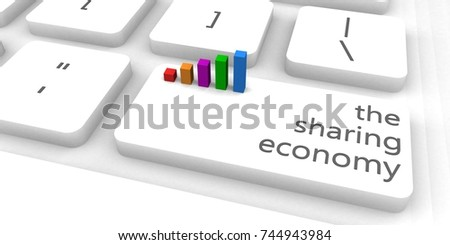 The Sharing Economy With One Keyboard Button Click 3d Render