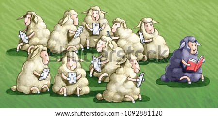 the sheep black law all the other white sheep use the jail cell humorous illustration metaphor of diversity