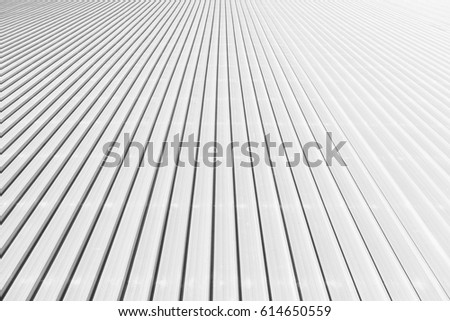 The sheet metal roof texture in the black and white scene