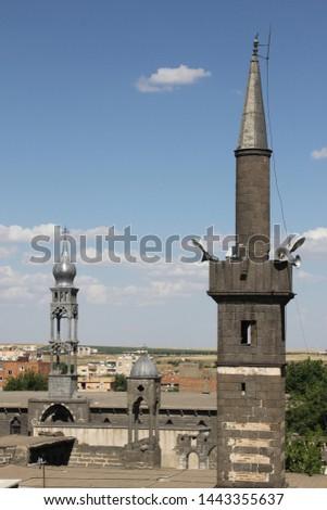 The Sheik Matar Mosque, Dort Ayakli Minare (Seyh Mutahhar Camii)- Diyarbakir Amed Stok fotoğraf ©