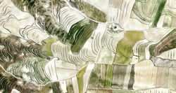 the shepherd, tribute to Picasso, abstract photography of the Spain fields from the air, aerial view, representation of human labor camps, abstract art,