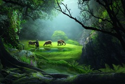 the shepherd with sheep in the deep forest on the grass beside a lake with beautiful sunlight