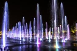 The shining fountains in park of arts Muzeon, Moscow, Russia