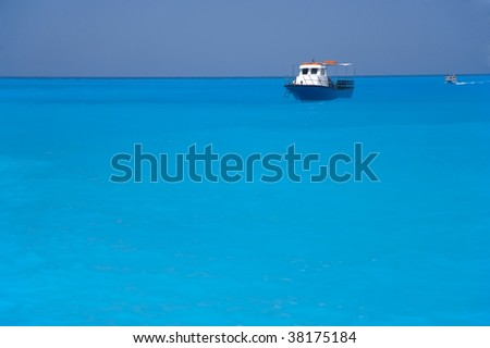 The ship and the boat in the sea