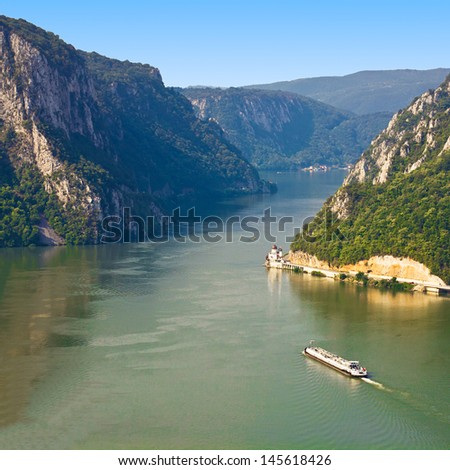 The ship passes through the narrowest part of the gorge on the Danube between Serbia and Romania,  also known as the Iron Gate.
