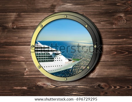 The ship window with sea or ocean and cruise liner. Travel and adventure concept.